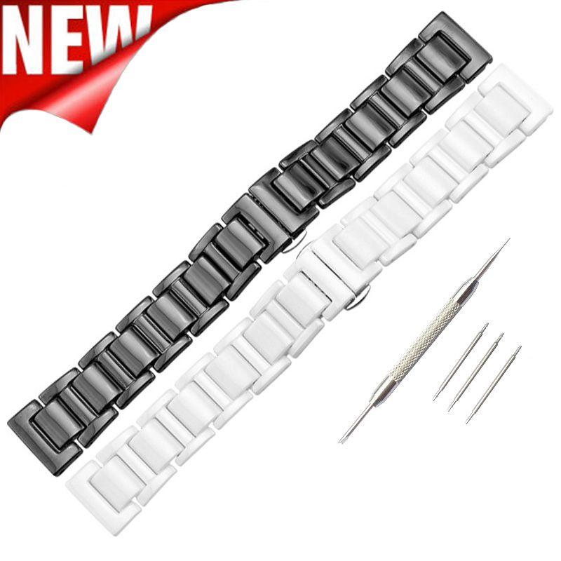 20mm 22mm Bracelet en céramique Bracelet pour Samsung Gear S3 trois liens Bracelet en céramique solide Bracelet pour Samsung Gear S2 classique