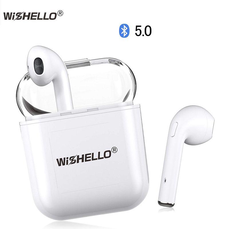 WiSHELLO Wireless Earbuds True Wireless Bluetooth Earbuds 5.0 TWS in-Ear Sports Wireless Earphones Built-in Mic & Charging Box