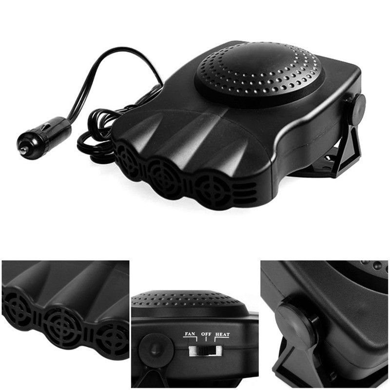 12V Heater Mini For Car Electric Fan Heated Windshield Windows Glass Defroster Defog Dashboard Three Holes Cooling Fan