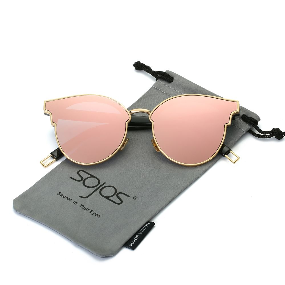 Lunettes de soleil Femme Mode CatEye Ronde Miroir Plat Lentilles Métal Cadre Surdimensionné Partie D'été Lunettes Oculos De Sol SOJOS SJ1055