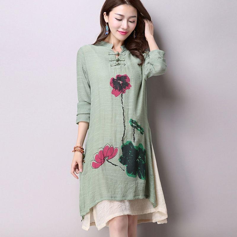 2018 printemps nouveau femmes vent décontracté manches longues coton linge robe grande taille longue linge robes Simple impression CX002