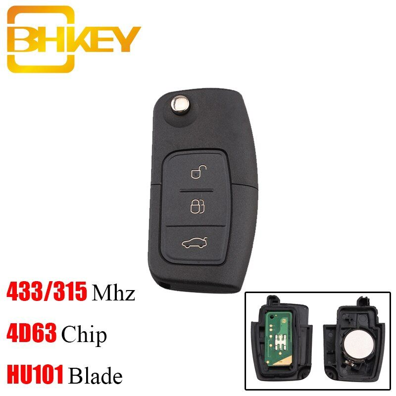 BHKEY 433Mhz 3Buttons Folding Remote Car key For Ford 4D60 4D63 Chip For Ford Focus 2 3 mondeo Fiesta key Fob HU101 Blade