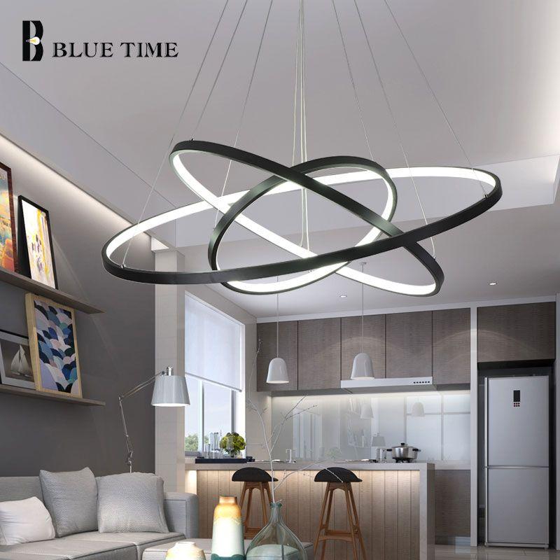 Mode salle à manger moderne lustres cercle anneaux LED lustre éclairage pour éclairage intérieur 5 anneaux 40CM 60CM 80CM 100CM