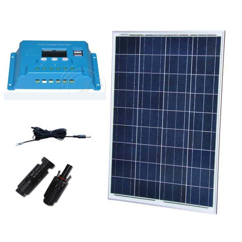 Kit Solar Panel 12 v 100 watt Solar Chare Controller 12/24 v 10A PWM LCD Caravana Camp Boote und Yachten Auto Dach Wohnmobile LED