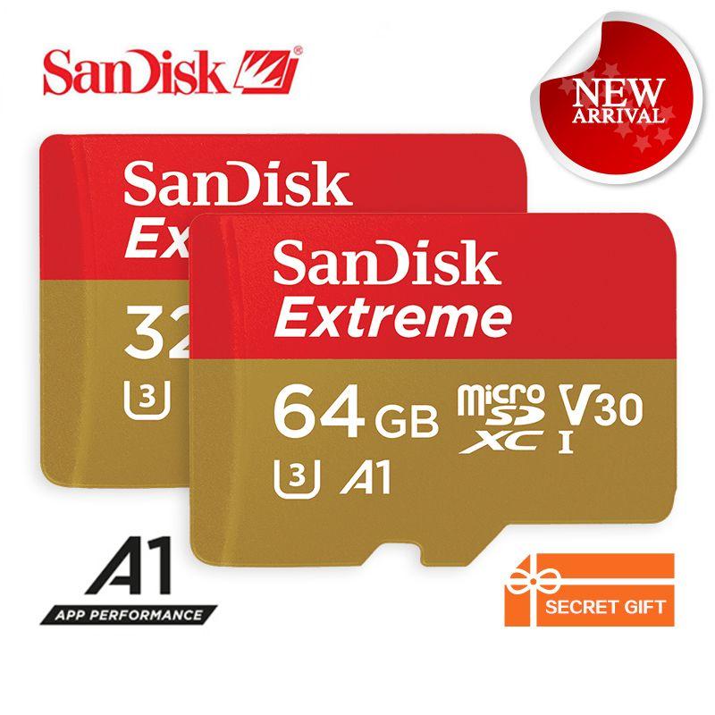 SanDisk Memory Card Extreme microSD UHS-I microSDHC/microSDXC Trans Flash Card Class10 U3 100MB/s 16GB 32GB 64GB TF Card SDSQXNE