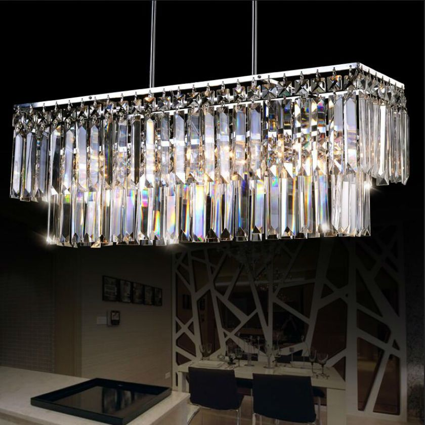 luxury rectangle K9 crystal chandelier LED luster pendant lamp Living room bedroom Chandeliers E14 luminarias para sala