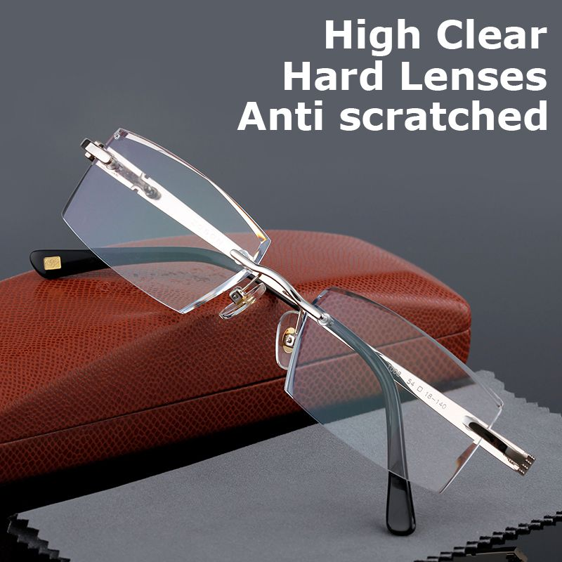 Qualité supérieure lunettes de lecture Hommes Sans Monture Clair Loupe Lunettes Pour Hommes Presbytes Lunettes + 1.0 + 1.5 + 2.0 + 2.5 + 3.0 + 3.5 + 4.0