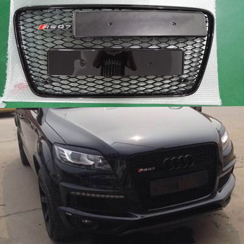 Q7 All Black Front Bumper Mesh Grille Guard For Audi Q7 2006-2015 RSQ7 Style Black 4ring Logo