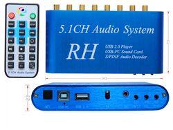 AL36 USB Digital Sound/Media Player,5.1CH Audio System,DTS/AC3 S/PDIF Audio Decoder for 5.1 channel amplifier