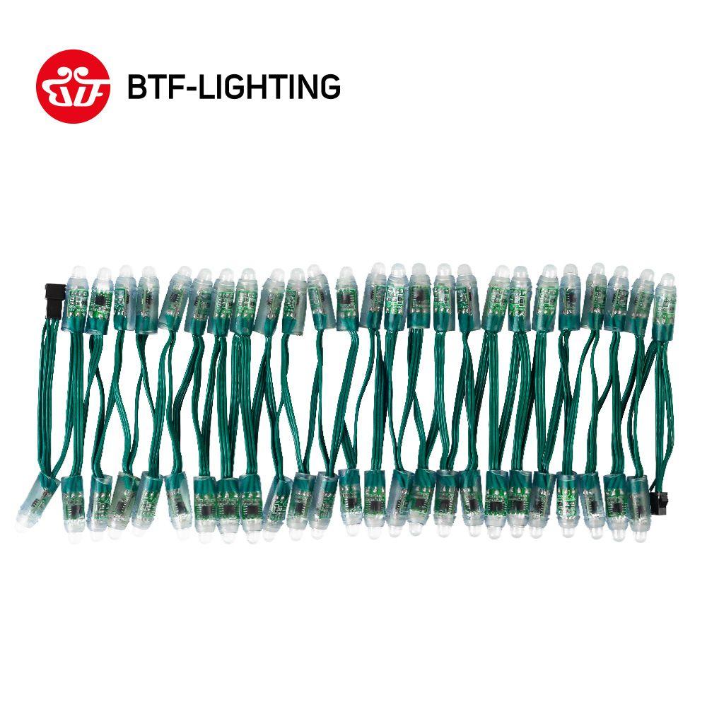 50 pcs/100 pcs WS2811 DC 5 v/12 v 12mm A MENÉ Le Module, noir/Vert/Blanc/RWB Fil Chaîne De Noël lumière; Adressable, IP68 imperméable