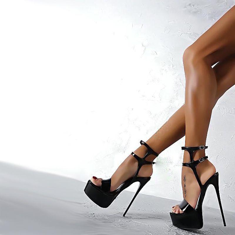 Taille 34-40 Pu En Cuir Talons hauts Sandales 16 cm Stripper Chaussures D'été De Mariage Parti Chaussures Femmes Gladiateur Plate-Forme sandales