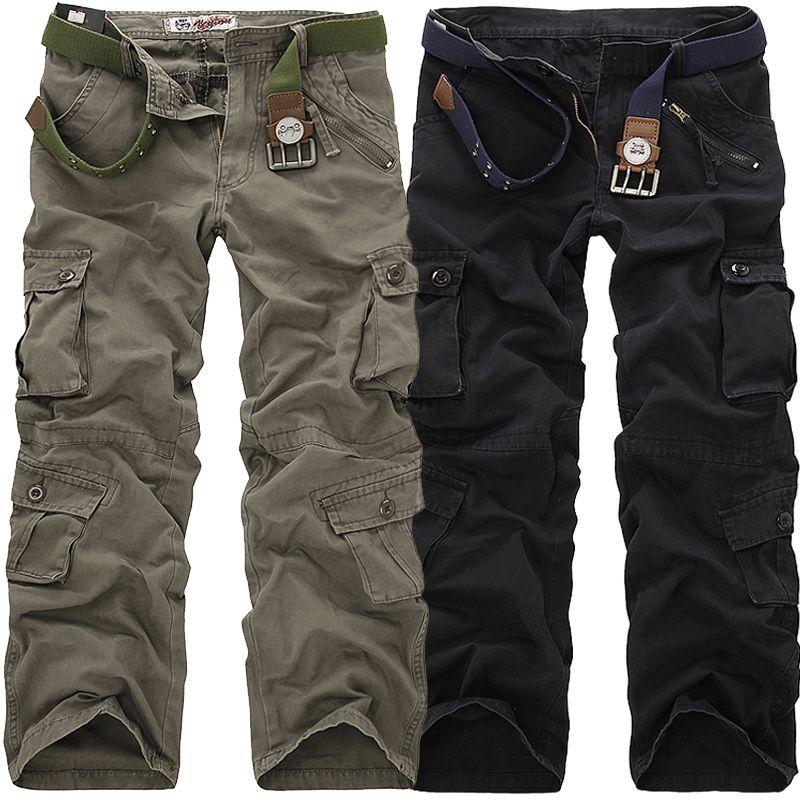 2019 haute qualité hommes Cargo pantalon décontracté lâche Multi poche militaire pantalon Long pantalon pour hommes Camo Joggers grande taille 28-40