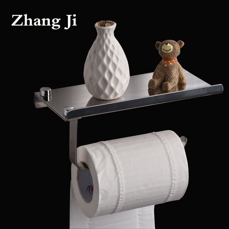 concise paper holder stainless steel silver toilet paper holder with phone shelf toalete paper holder wc paper holder ZJ116