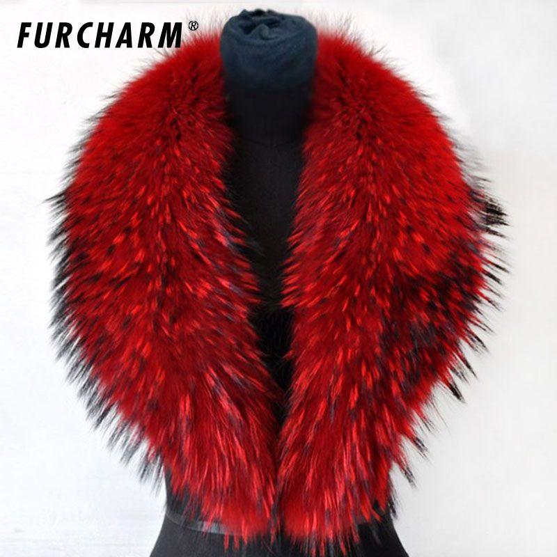 80/90/100 cm 2018 Winter 100% Reale Natürliche Waschbären Pelzkragen & Womens Schals Mode Mantel Pullover schals Dicken Langen Neck Cap