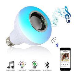 E27 Smart RGB Wireless Bluetooth Speaker Bulb Musik Bermain Dimmable LED RGB Musik Bulb Lampu Lampu dengan 24 Kunci Remote kontrol