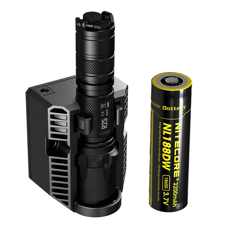 New NITECORE R25 Tactical Flashlight 800LM XP-L HI V3 LED Torch Unmatched Performance Smart Charging Dock + Rechargeable Battery