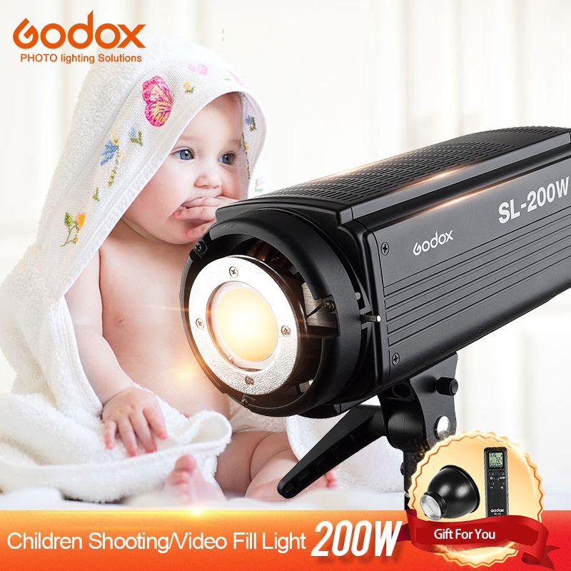 Godox SL-200W LED Video Light Continuous 200WS Output 5600K White Version LCD Panel Bowens Mount Photography Studio Lighting