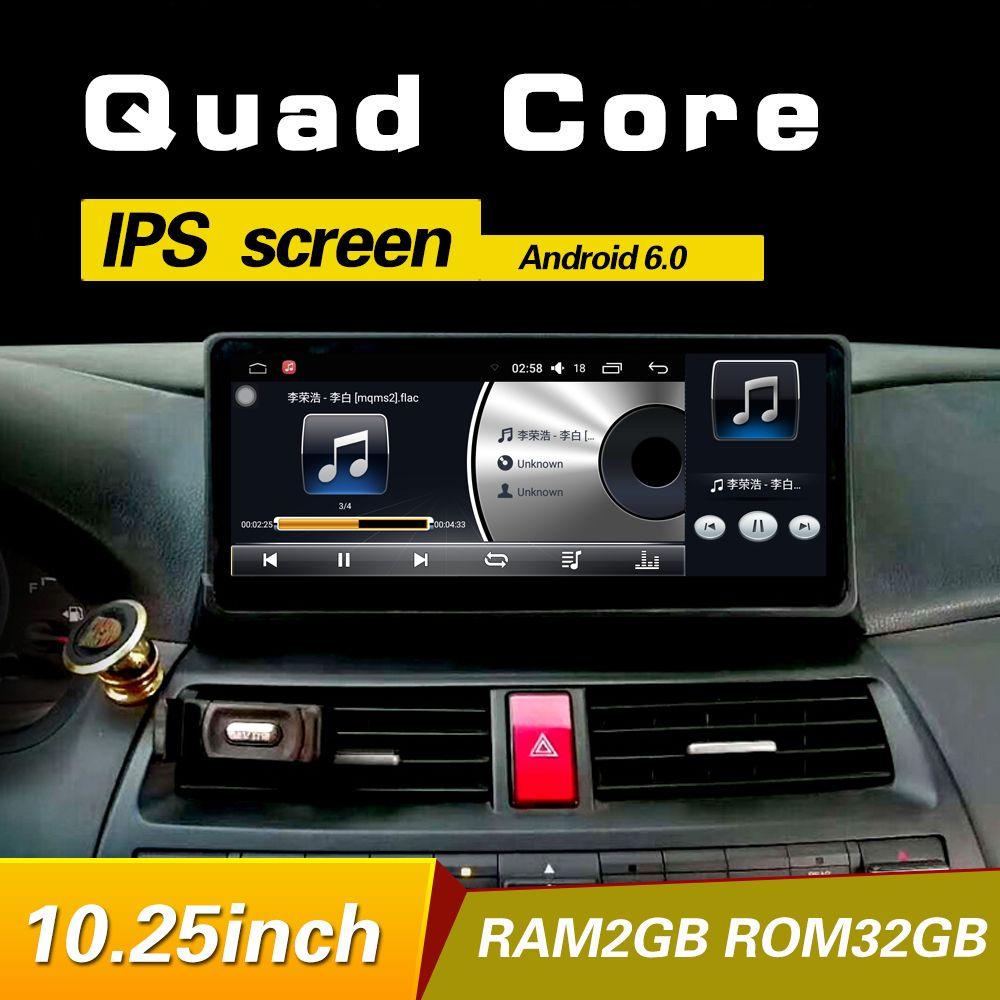 10,25 zoll Android 6.0 navigation auto-spieler GPS Für Honda accord/cross 8 2008-2013 bluetooth audio lenkrad
