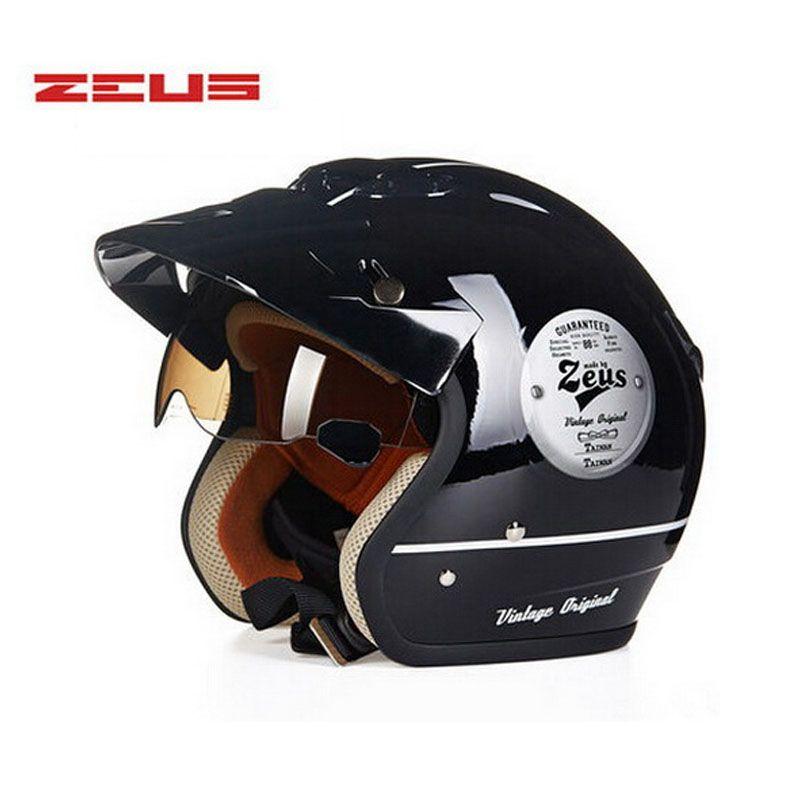 ZEUS Intérieure UV Visière open face jet casque de moto, scooter électrique ZS-381c chopper moto 3/4 casque pour hommes femmes