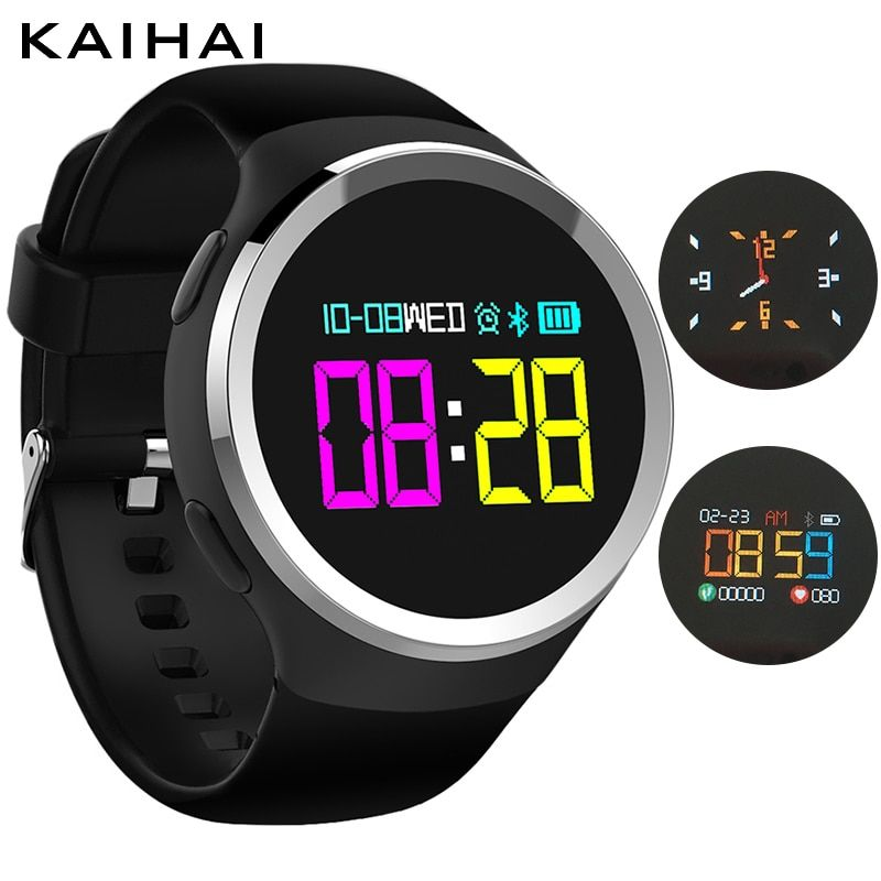 KAIHAI colorful Round stainless steel case sport fitness bracelet smart watches Blood pressure Oxygen Heart rate Monitor band