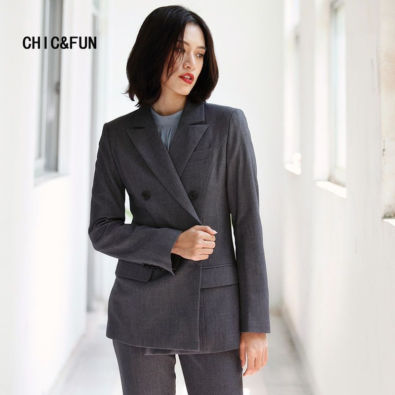CHIC&FUN High Quality Double Breasted Suits Blazers Spring and Autumn Vintage Slim Casual Fashion Women Blazers and Jackets