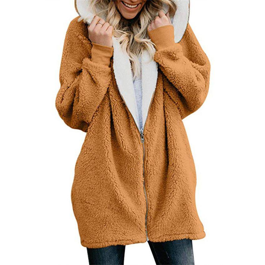 Femmes de Vestes D'hiver manteau Femmes Cardigans Dames Chaud Jumper Polaire Fausse Fourrure manteau À Capuche Outwear manteau Femme Plus La taille 5XL