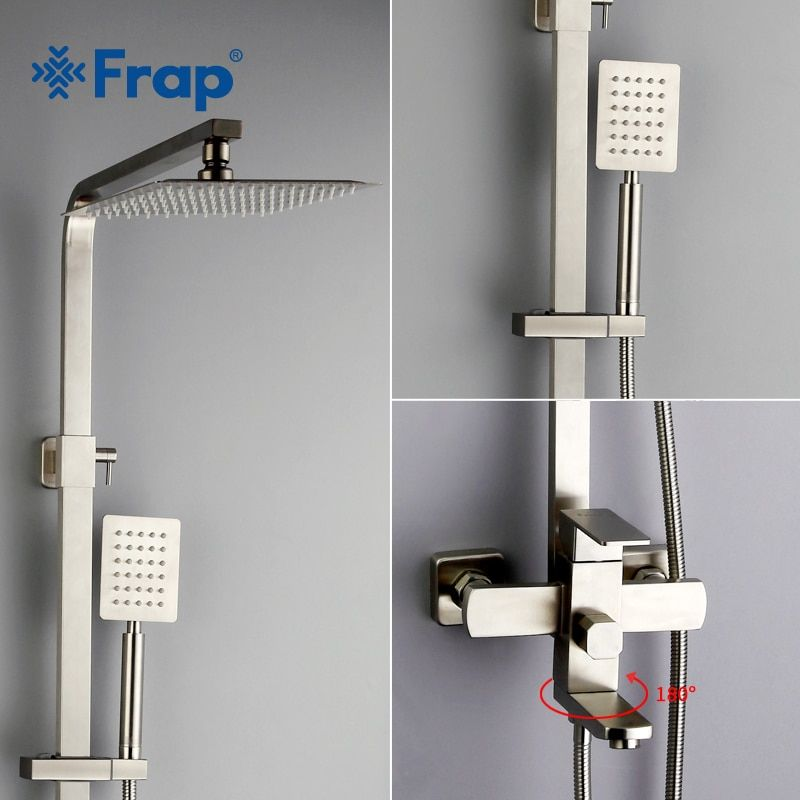 Frap new Luxury <font><b>Wall</b></font> Mounted stainless steel Rain Shower faucets Set system cold&hot water Square hand shower head F2421