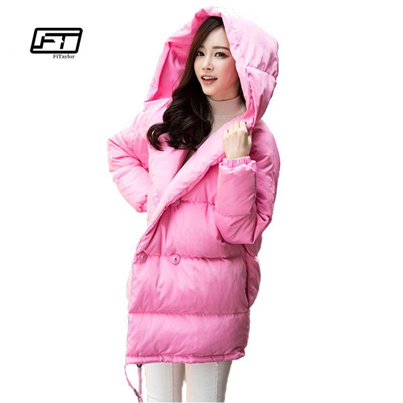 winter women loose fit coat fashion cute parkas hooded jacket overcoat medium casual plus size duck down overcoat snowear