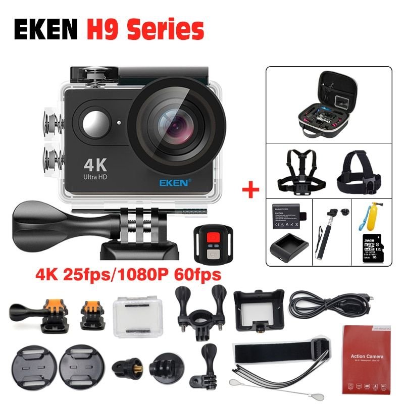 EKEN H9R 4K Action Camera Ultra HD Go pro Style Sports Wifi 12MP 1080p 30M Under Water Helmet Cam 170 Degree Lens Remote Control