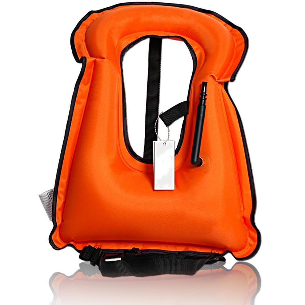 LumiParty Portable Inflatable Life-vest Bright-coloured Safety Lifejacket Buoyancy Vest Snorkel Vest for Kids Adult