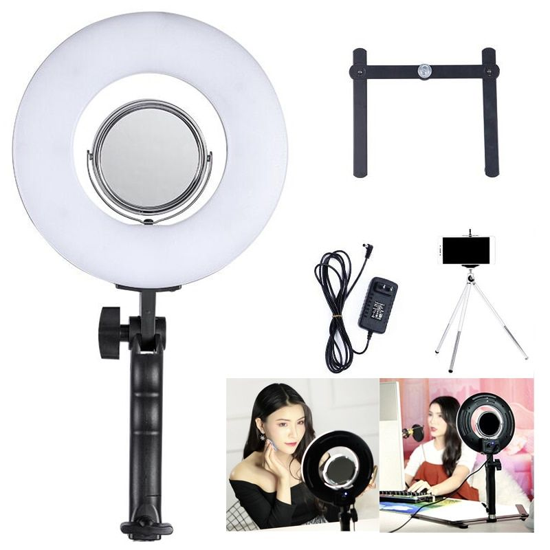 8 Inch 24W 5500K Dimmable Photo Studio Photography Tabletop Makeup Ring Light Phone Video Live Light Lamp With Free Gift