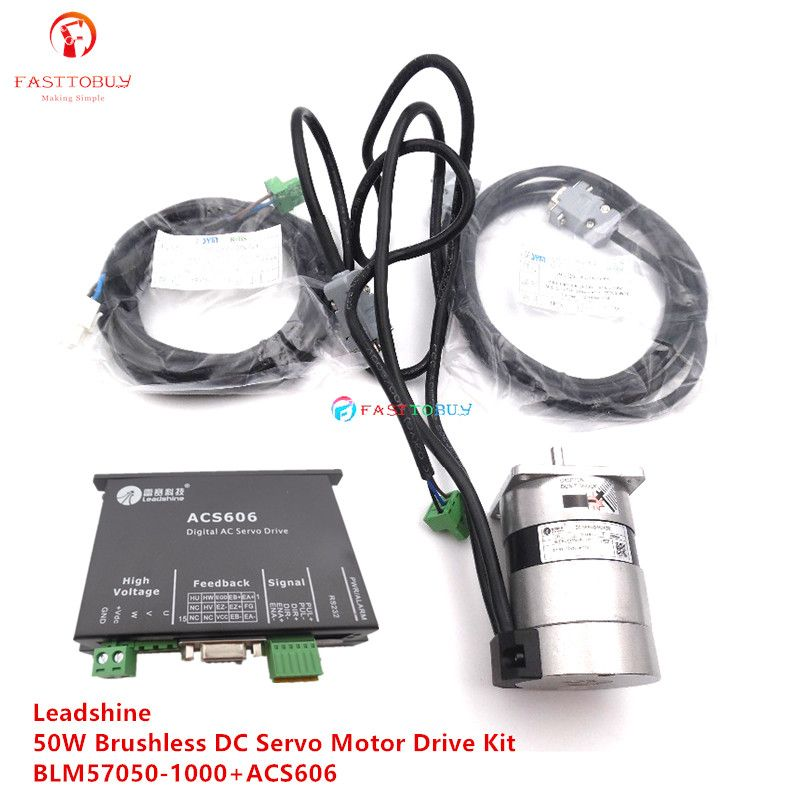 Original Neue 50 W Leadshine Bürstenlosen DC Servo Motor Drive Kit BLM57050-1000 + ACS606 3A 24VDC 0.16NM 3000 RPM Puls control