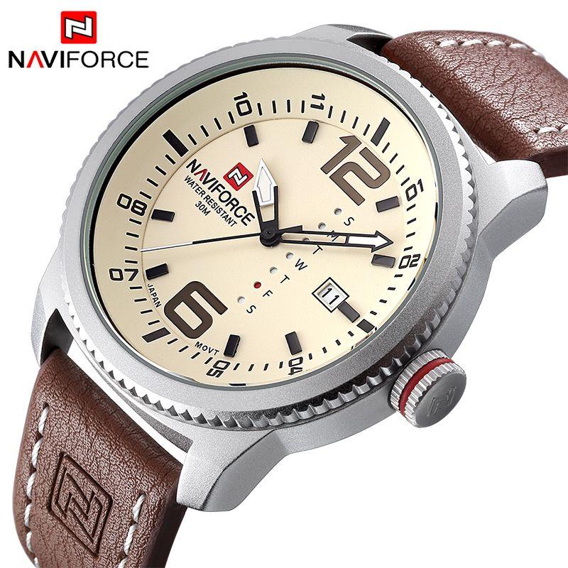2017 NOUVEAU Luxe de Marque NAVIFORCE Hommes Sport Montres Hommes Horloge À Quartz Homme Militaire de L'armée En Cuir Montre-Bracelet Relogio Masculino