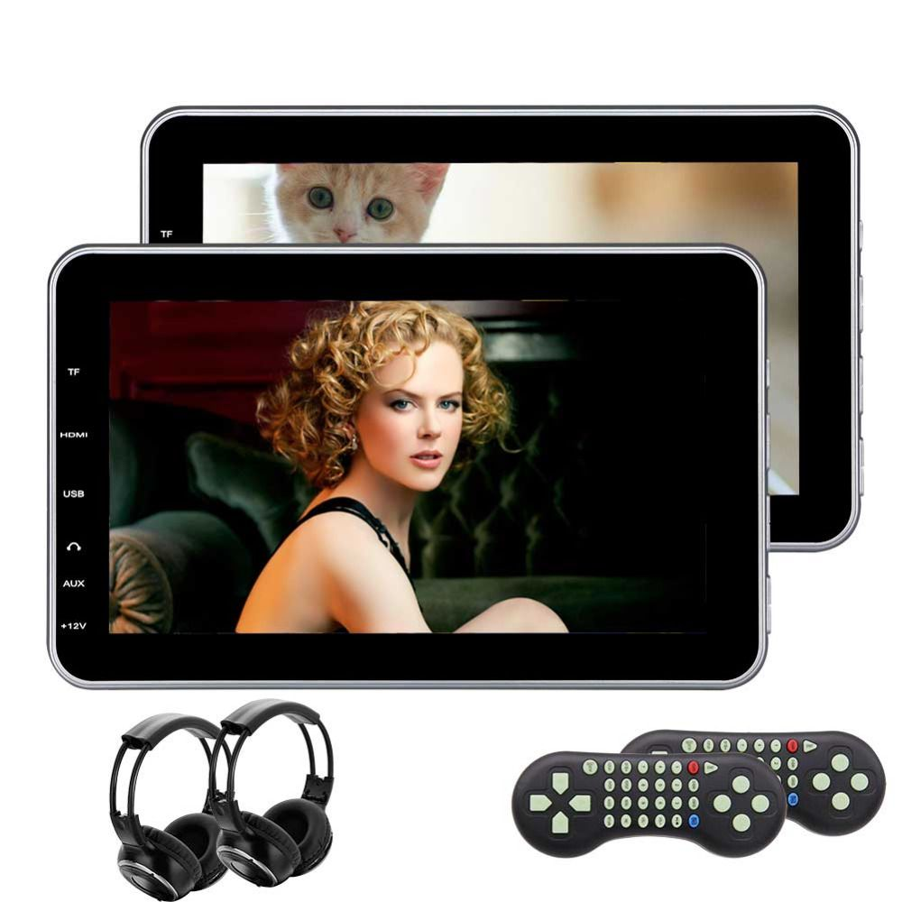 2 * IR headphones included! 10.1 Inch Pair of Car Headrest DVD Player HD Twin Screen Rearseat Monitor Dual Video Audio Players