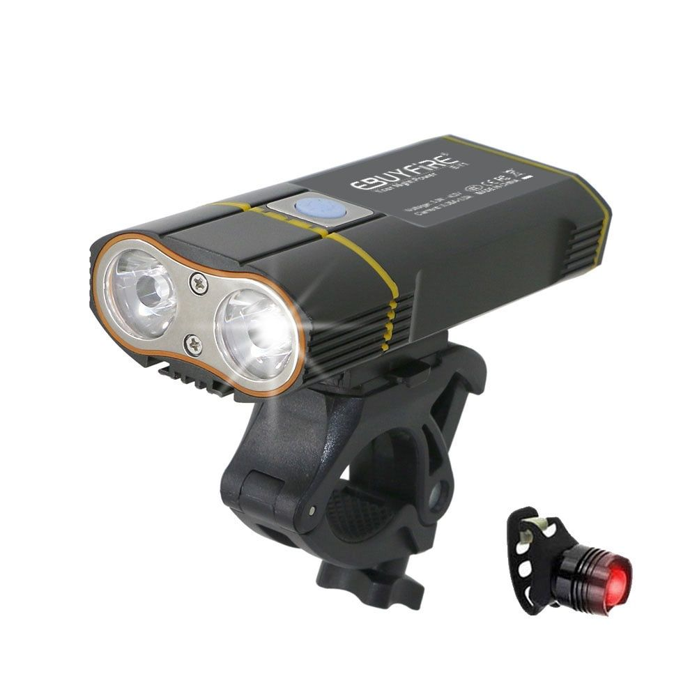 6000LM USB Bike Light 2x XML-L2 LED Bicycle Lights With Rechargeable Battery Cycling Front Light +Handlebar Mount