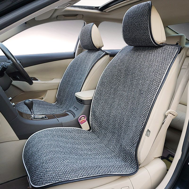 2018 New Flax Fabrics Universal Car Seat Covers Set Fit Front Seat Back car Seat Cover Protection Car Seat Cushion Accessories