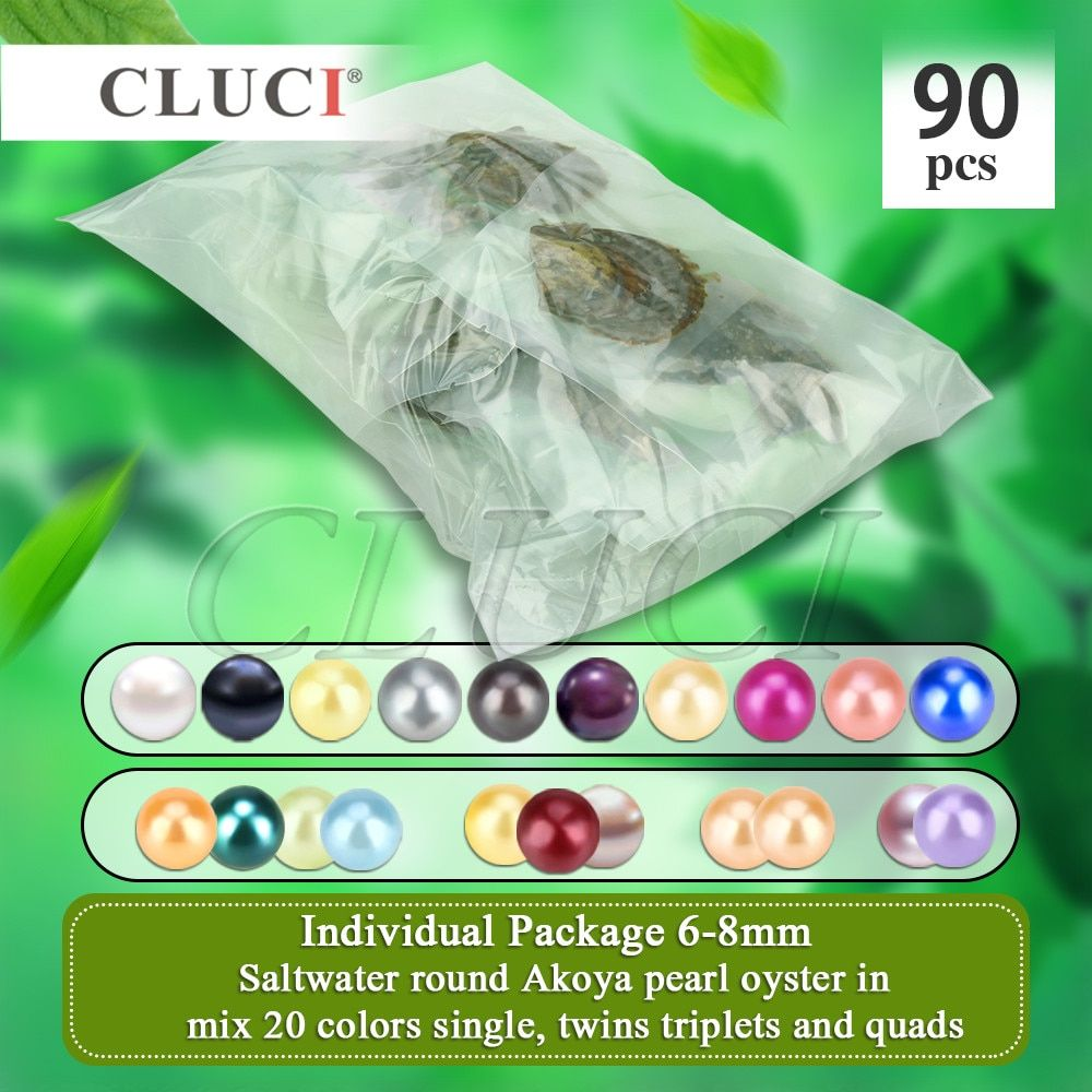 CLUCI 90pcs 6-8mm mix 20 colors round Akoya single, twins, triplets and quads pearls oysters individually packed big party pack