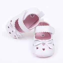 Lindo bebé Niñas verano pu cuero princesa en forma de corazón Hollow out Mary Jane Zapatos inferior suave cuna bebé vestido zapatos