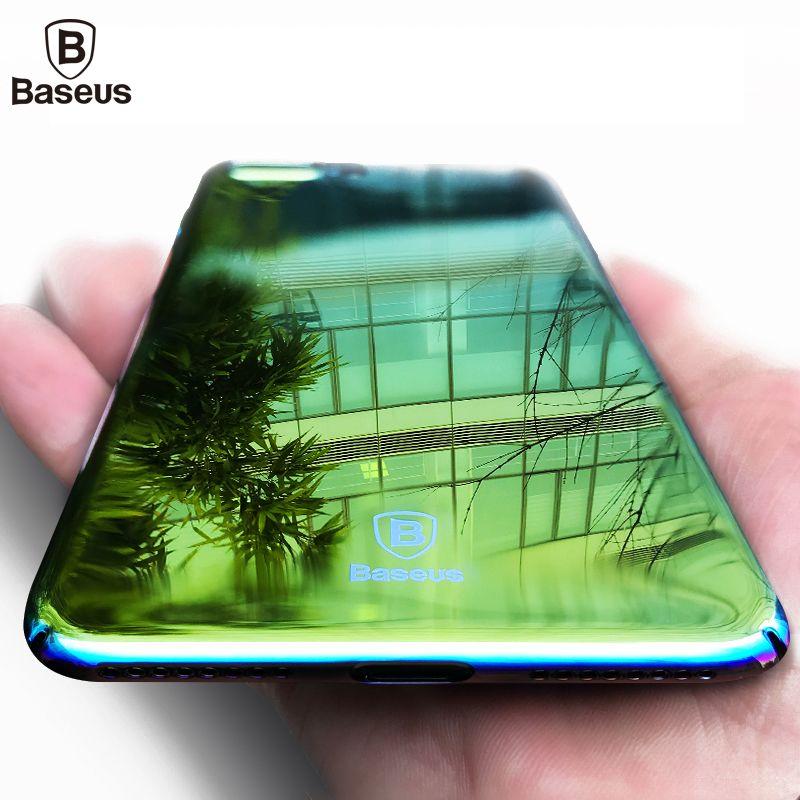 Baseus Marque Aurora Lumière Téléphone Cas Pour iPhone 7 7 Plus Ultra clair Miroir Placage Dur Coque Couverture Pour Apple iPhone 7 Plus cas