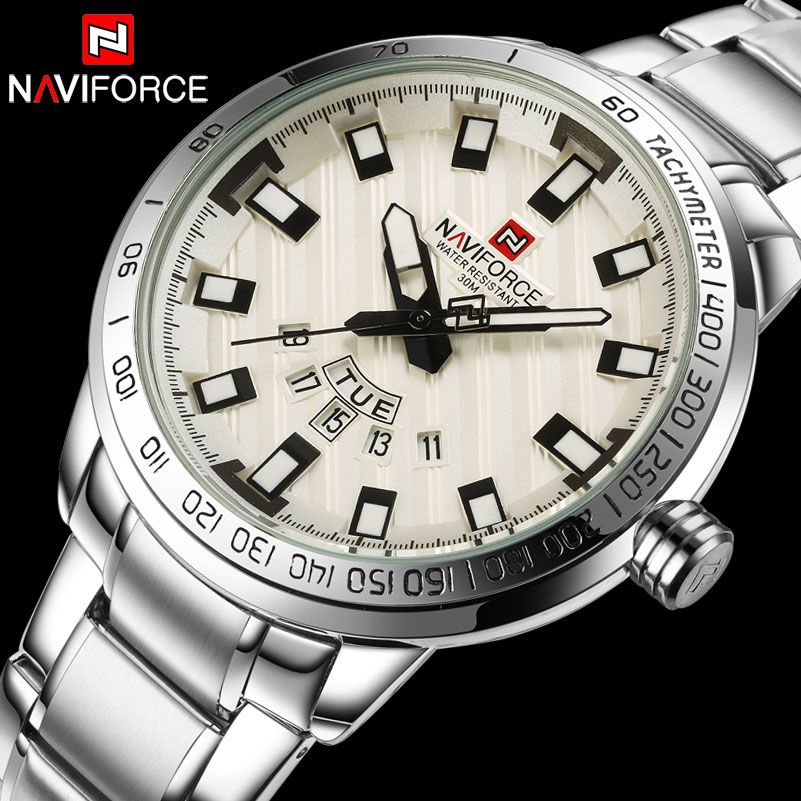 Men Quartz Watch NAVIFORCE Luxury Sport Watches Business Silver Steel Watch 30M Waterproof Calender Wristwatches Reloj <font><b>Hombre</b></font>