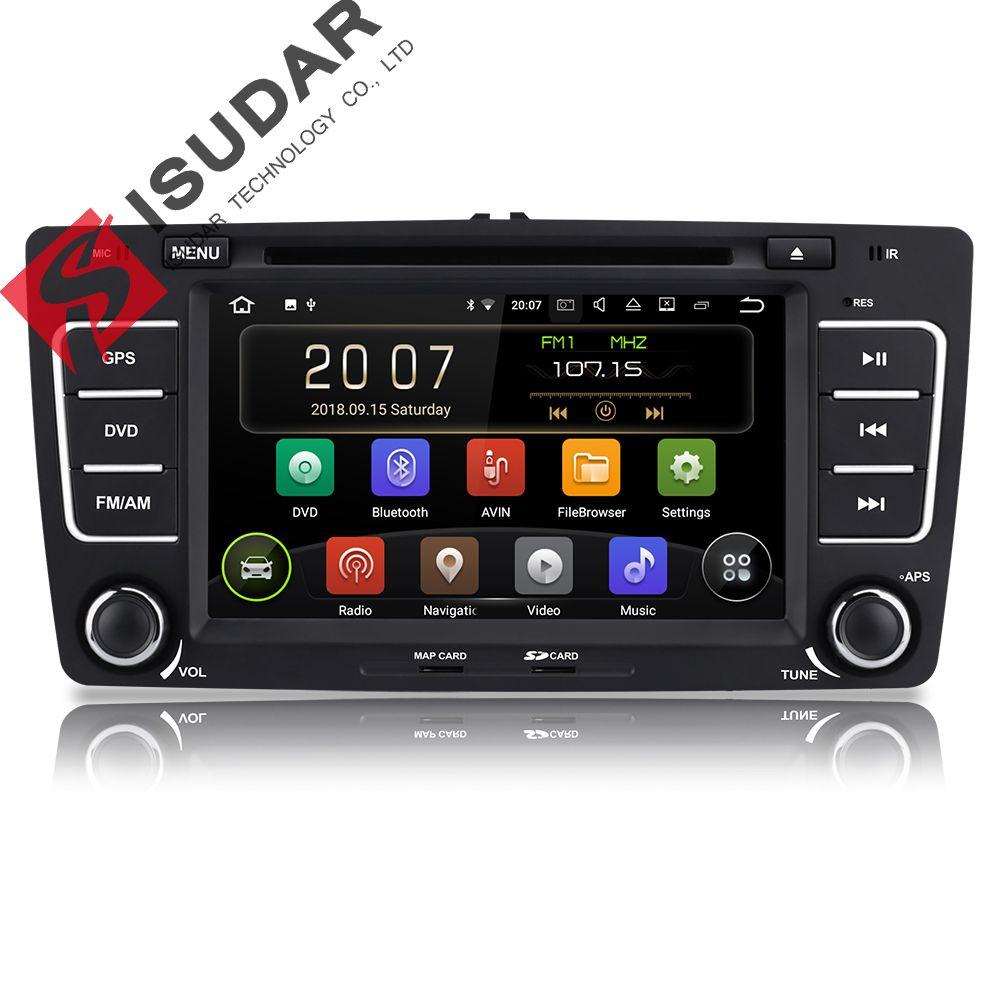 Isudar Android 9 Autoradio For SKODA/Octavia 2009-2013 Car Multimedia player 2 Din DVD GPS 4 Core RAM 2GB ROM 16GB FM Radio