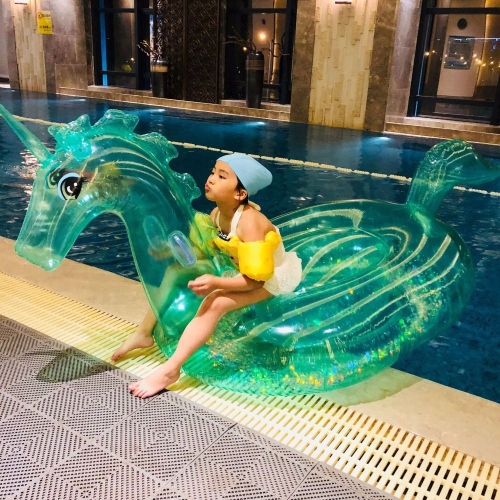 240cm Giant Glitter Unicorn Crystal Green Pink Pegasus Inflatable Pool Float 2018 Ride-On Swimming Ring Air Mattress Water Toys