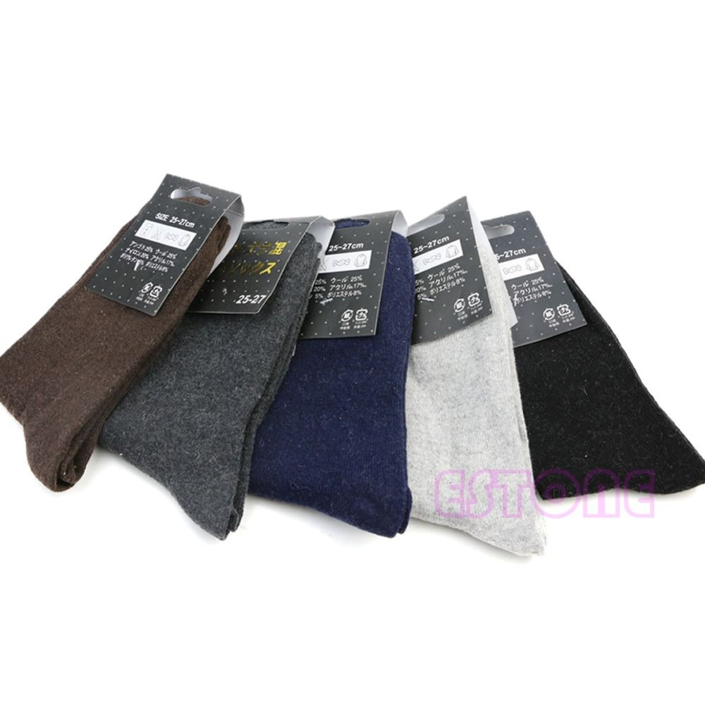 5Pair Men's Boy Warm Wool Mixture ANGORA Cashmere Pure Winter Thick Color Socks
