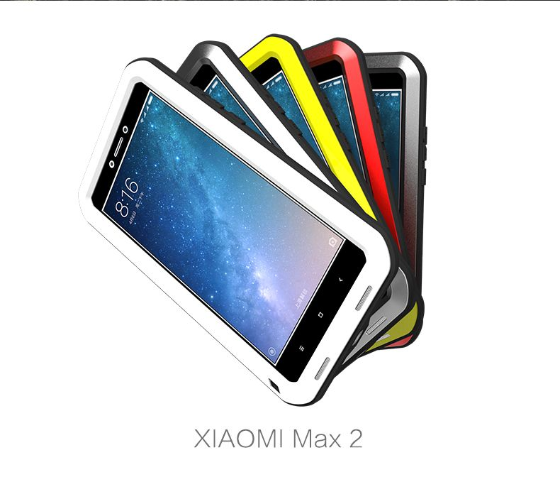 Love Mei Powerful Case For Xiaomi Mi Max 2 Premium Waterproof Shockproof Aluminum Case Cover for xiaomi max2 free Tempered Glass