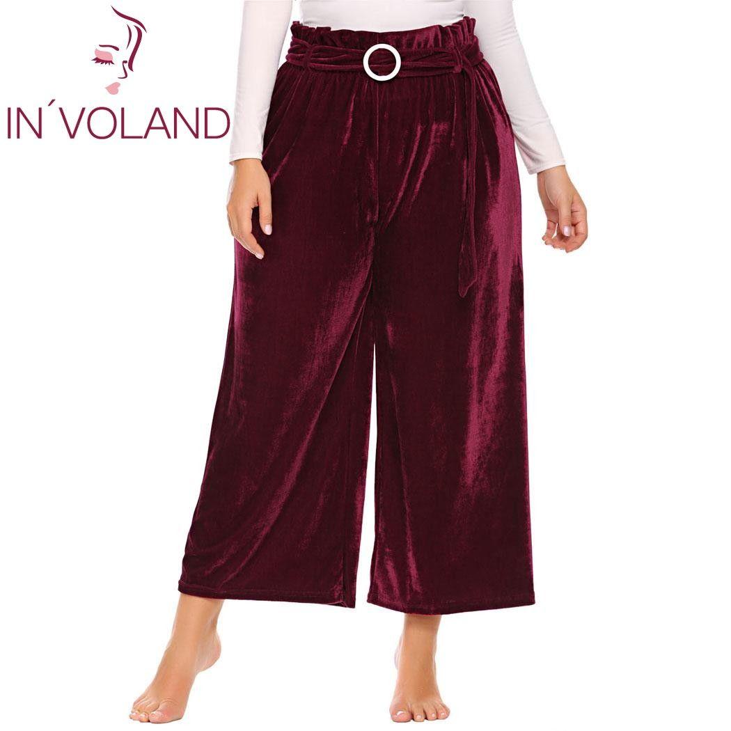 IN'VOLAND de Gran Tamaño XL-5XL Mujeres Pantalón Estilo Vintage Otoño de Cintura Alta Con Cinturón Largo Culottes Pantalones Anchos de La Pierna Más El Tamaño