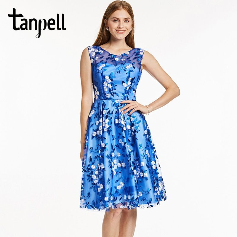 Tanpell short homecoming dress royal blue scoop sleeveless knee length a line gown lady embroidery party prom homecoming dresses