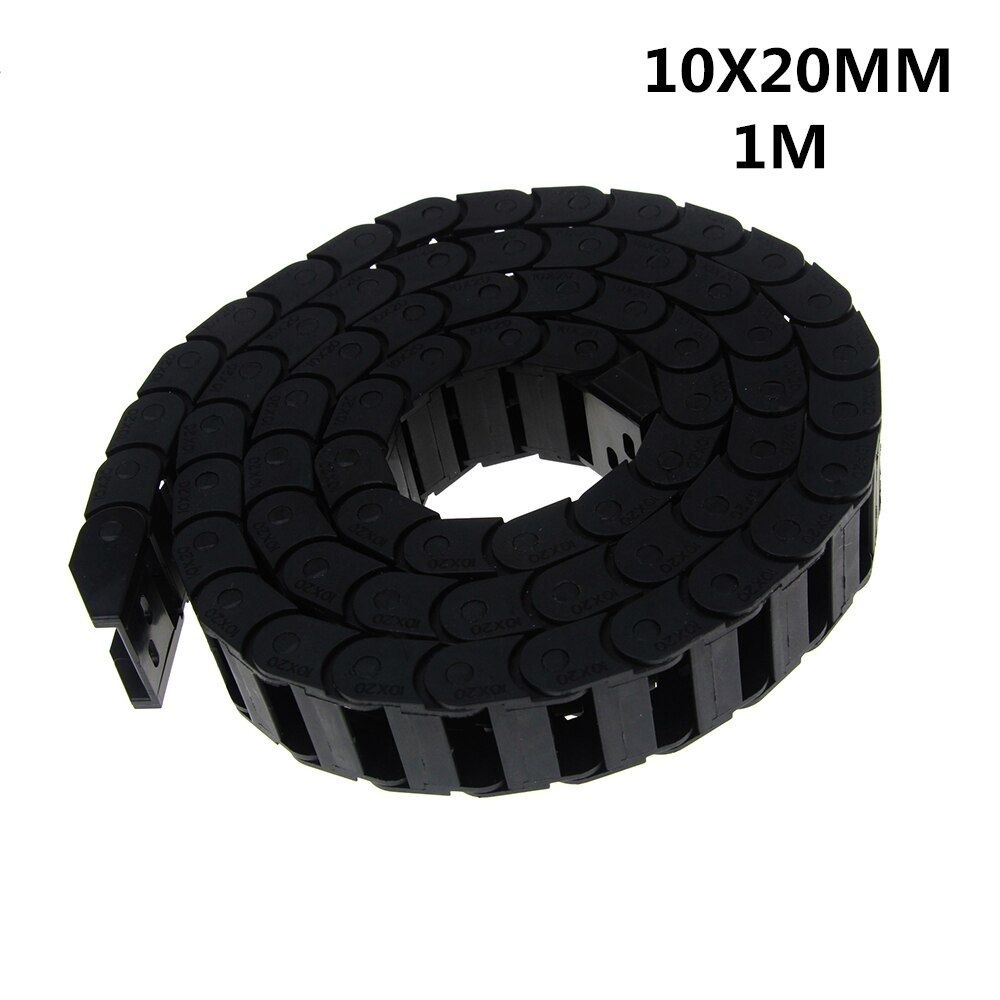 Free Shipping 10 x 20mm 10*20mm L1000mm Cable Drag Chain Wire Carrier with End Connectors for CNC Router Machine Tools