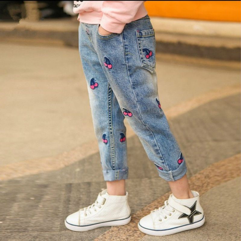 Girls Jeans Spring 2018 Children's Wear Children's Spring and Autumn Cherry Jeans PantsN ew Autumn Trousers Children's Clothing
