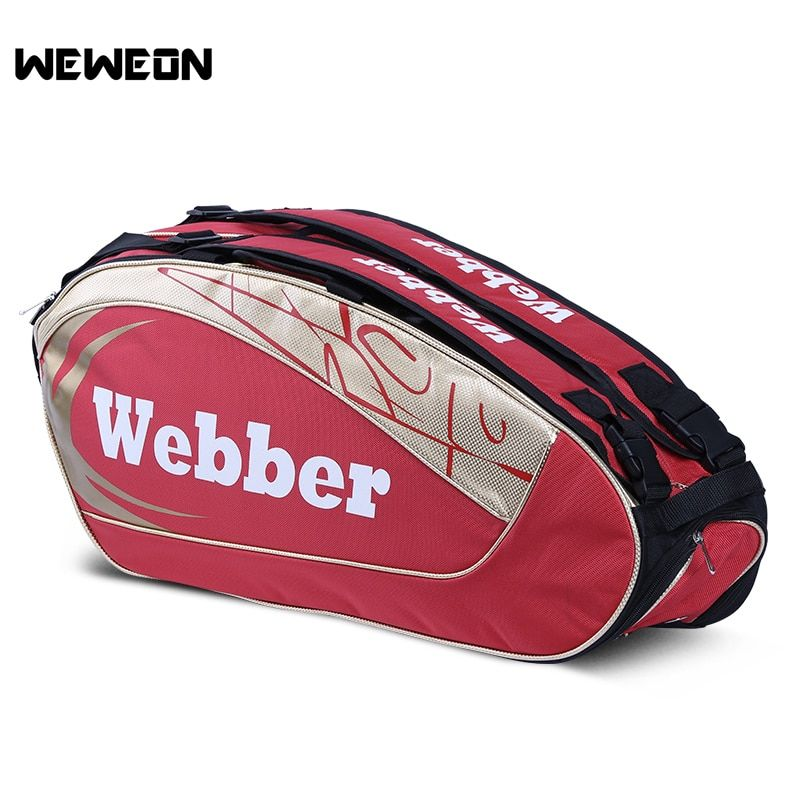 Professional Tennis Racket Bag Sports Badminton Shoulder Bag Tennis Bag for Men and Women for 3 to 6 Rackets with Shoes Storage