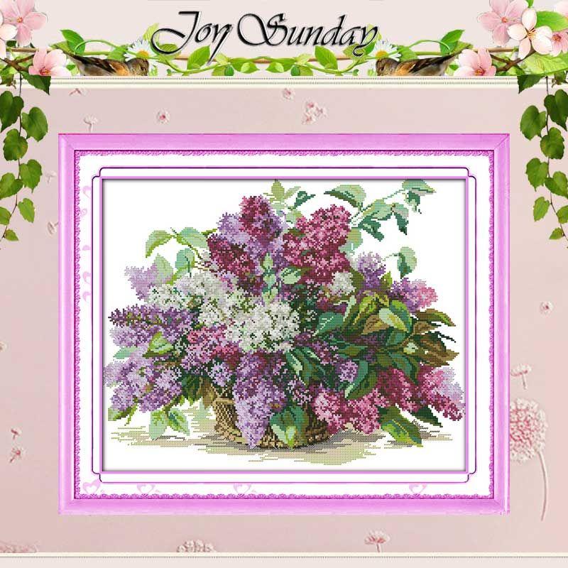 Livraison gratuite!! Lilas compté point de croix 11 14CT point de croix définit fleurs point de croix Kits pour broderie décor à la maison couture